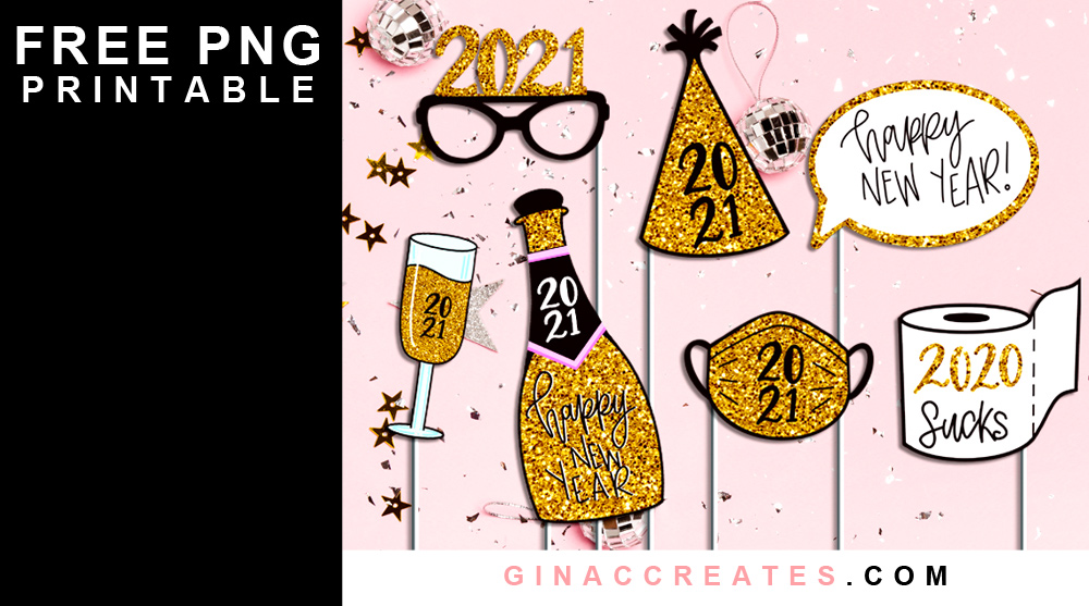 free new year photo props svg printable