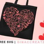 flower heart free valentine's svg
