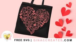 flower heart free valentine's svg