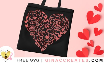 Floral Heart Free SVG Cut File