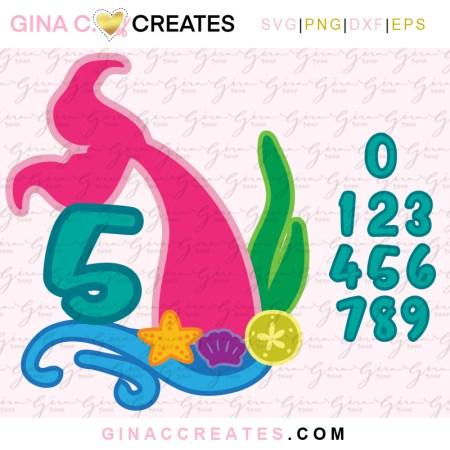 mermaid tail birthday topper free svg