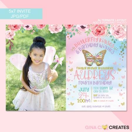Butterfly 4th birthday invitation