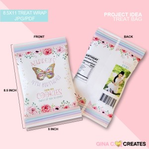 butterfly party treat bag, chip bag