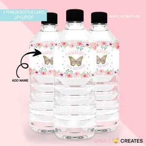 butterfly party water bottle label