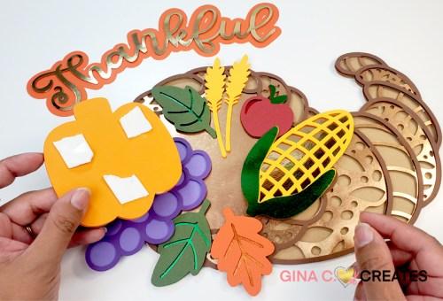 Fall Thanksgiving Craft Project, cornucopia SVG, layered mandala svg