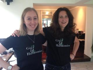 Naomi and Helen modelling our new t-shirts