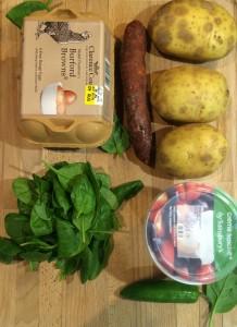 Potatoes, chorizo, eggs, spinach and creme fraiche.
