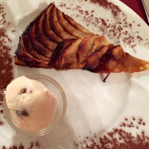 Shot showing the french apple tart with rum and raisin ice cream.