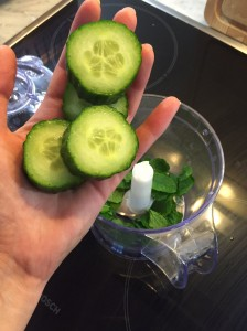 Shot showing the mint and cucumber ready to be blended.
