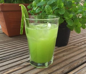 Shot showing the cocktail in front of a mint and basil plant
