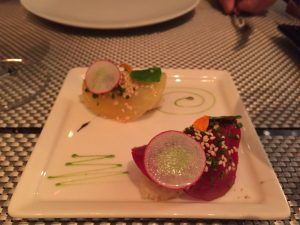 Close up shot of the cauliflower sushi