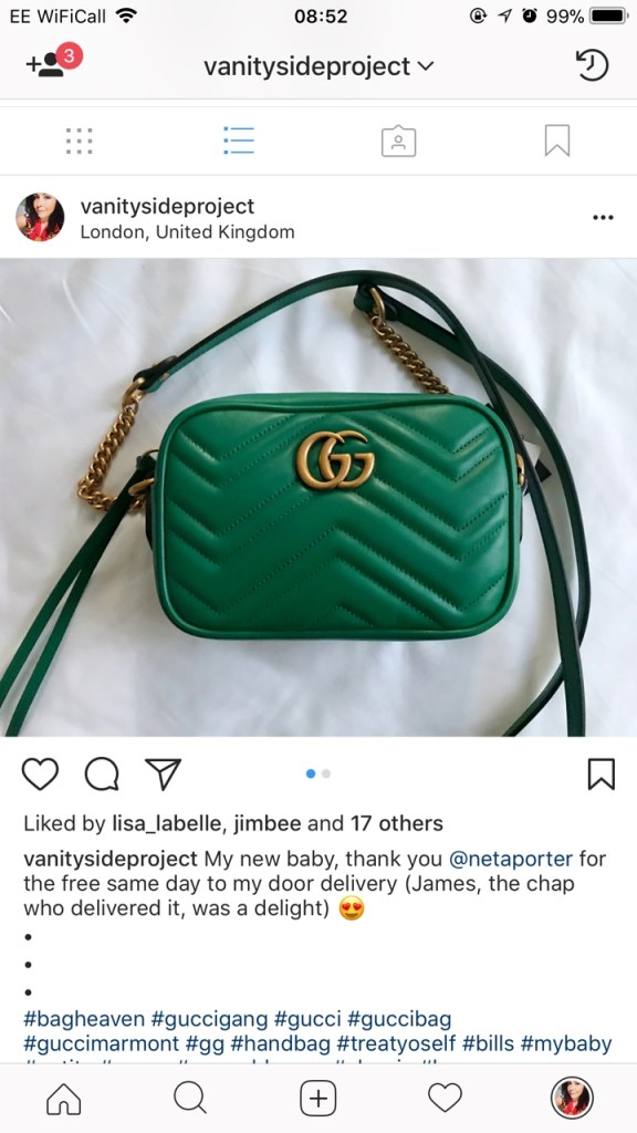 Screenshot of my green Gucci Marmot handbag that only got 17 likes!