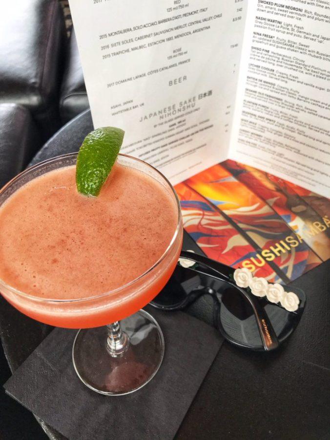 A close up shot of cocktails at Sushi Samba