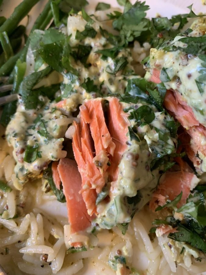 Bengali Salmon Parcels contain coriander, yoghurt and spices to make a healthy meal
