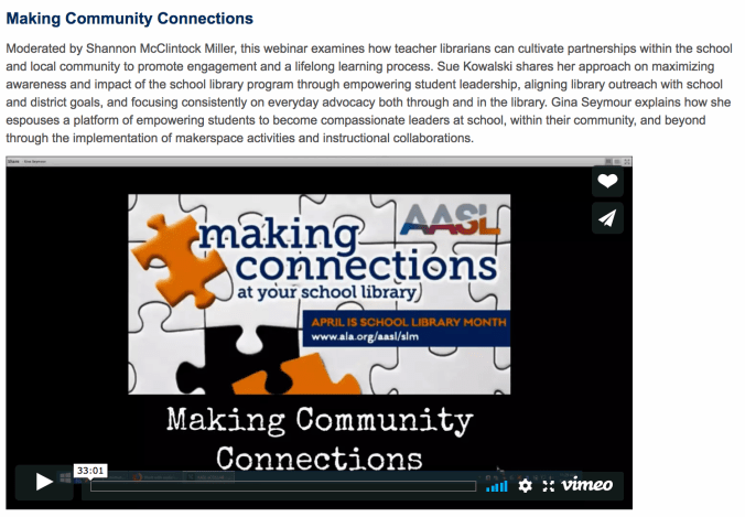 making connections webinar aasl