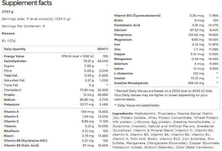 tabela nutricional xtreme mass gainer