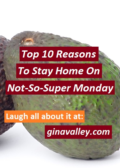 Humor Funny Humorous Family Life Love Laugh Laughter Parenting Mom Moms Dad Dads Parenting Child Kid Kids Children Son Sons Daughter Daughters Brother Brothers Sister Sisters Grandparent Grandma Grandpa Grandparents Grandfather Grandmother Parenting Gina Valley Top 10 Reasons To Stay Home On Not-So-Super Monday Work Super Bowl