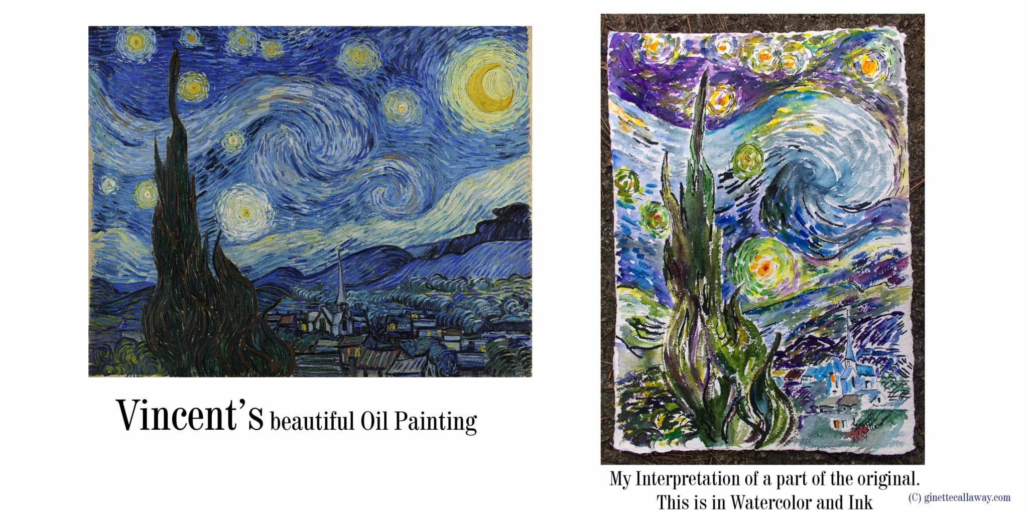 watercolors after vincent van gogh starry night ginette paints