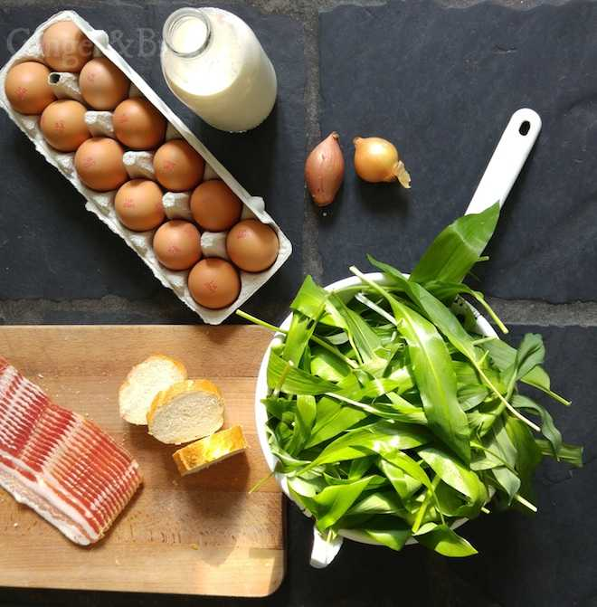 ingredients for wild garlic frittata