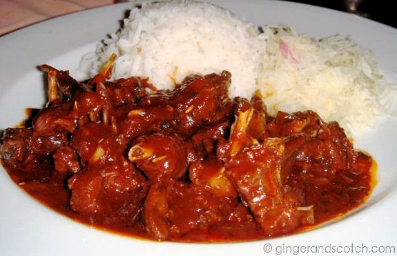 """flying fox"" braised in a red wine sauce"