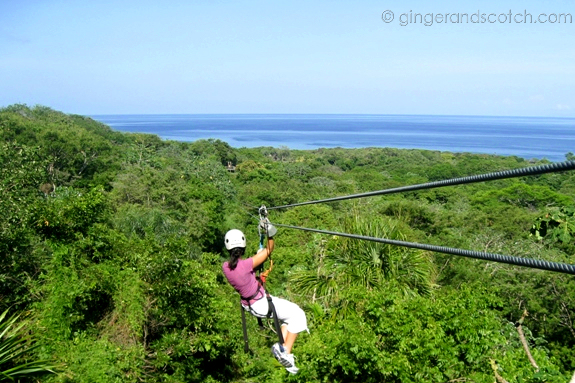 zip-lining in Roatan