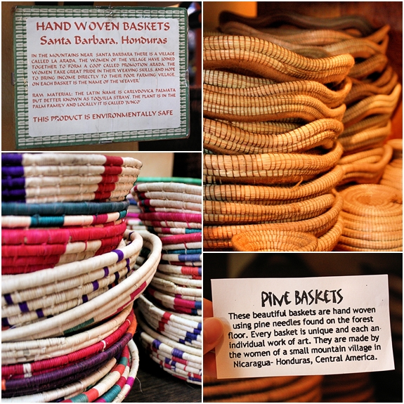 Pine and Hand Woven Baskets