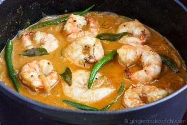 adding the shrimp
