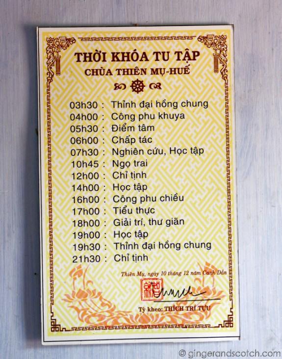Monks Schedule
