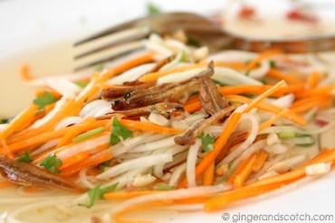 Goi Du Du (v) - green papaya salad with fried anchovy
