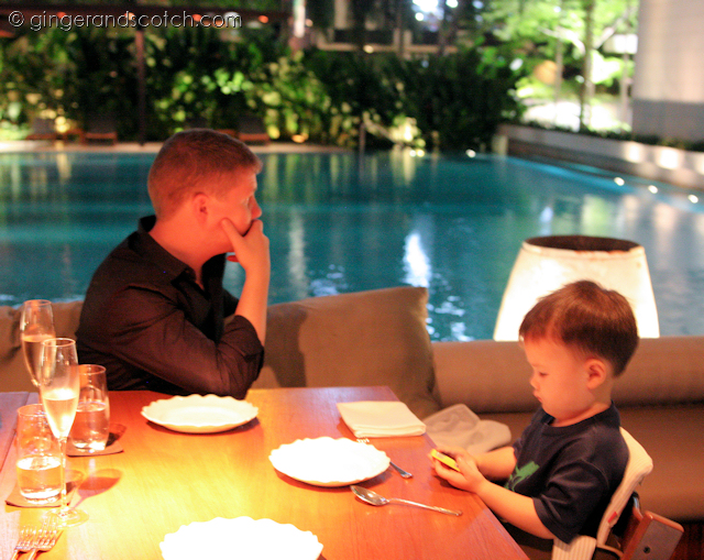 outdoor seating by the pool at Nahm, Bangkok