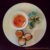 Salmon roll with Vietnamese dill and Vietnames rice paper rolls with chicken, shrimp, and herbs served with home-made fish sauce
