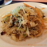 Wok-fried glass noodles with egg, mixed vegetables, mushrooms, and crab meat
