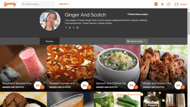 Yummly Publisher Page for Ginger and Scotch