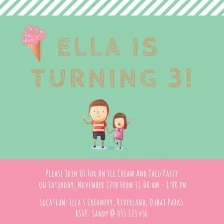 Birthday Party Invite to Ella's Creamery