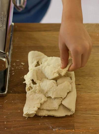 First pass of ramen dough through the pasta machine