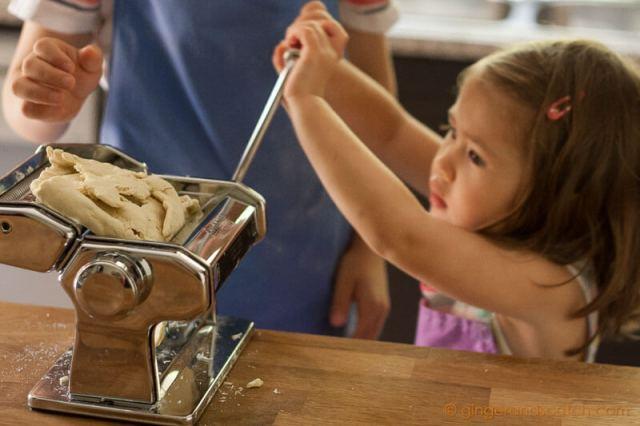 2nd pass of ramen dough through the pasta machine