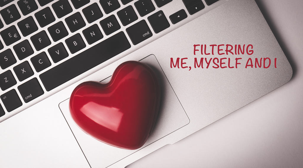 image of computer with a heart saying filter me, myself and i