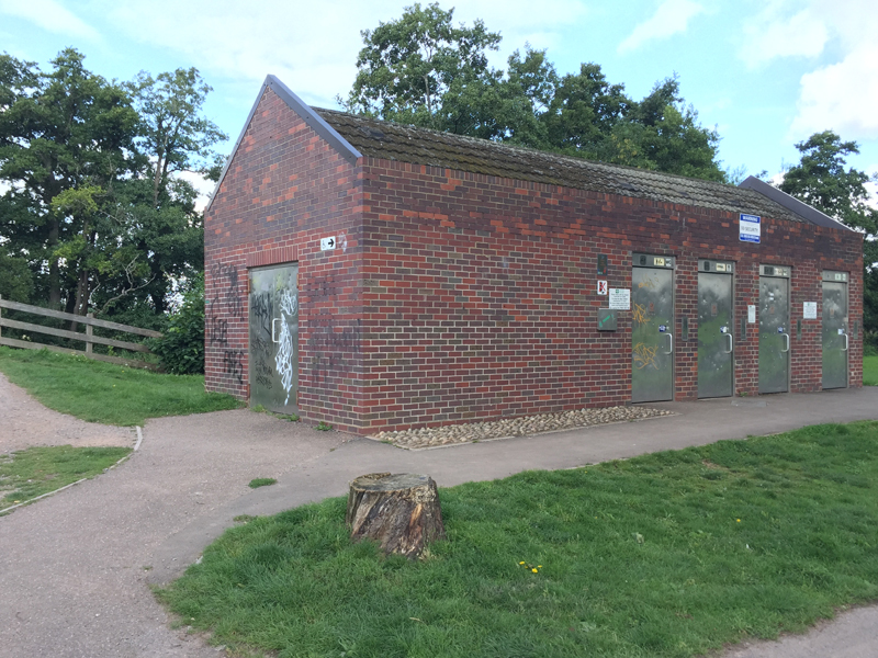 old toilet block