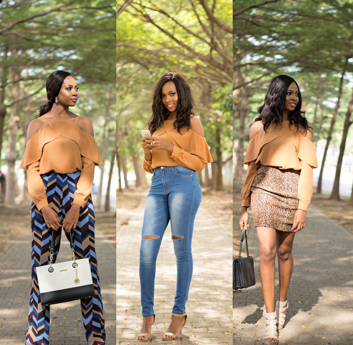One Top, Three Looks for miskay boutique top, fashion and beauty blogger in abuja