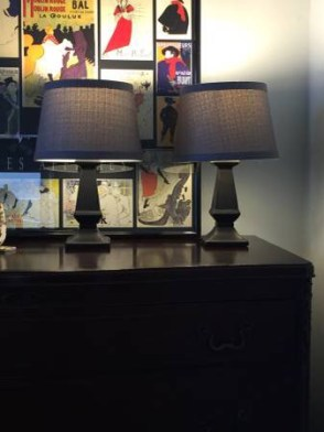 SOLD: 2 Black lamps linen shades $30