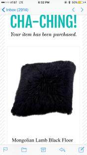 SOLD: Mongolian Sheep Skin Floor Pillow $425