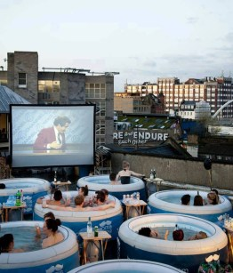 Pop-up cinema on a London rooftop.