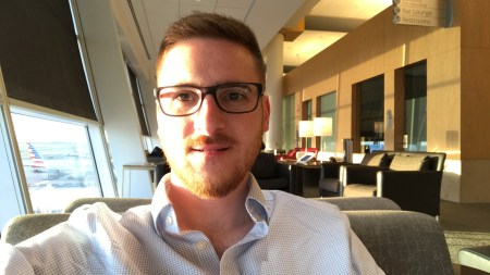 The Ginger Travel Guru in the Qantas lounge at DFW