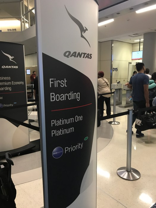 Qantas First class boarding at DFW