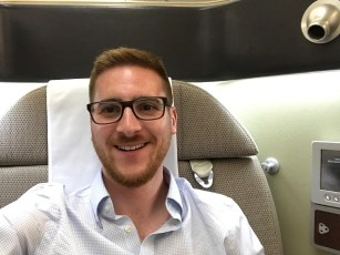 The Ginger Travel Guru in Qantas first class