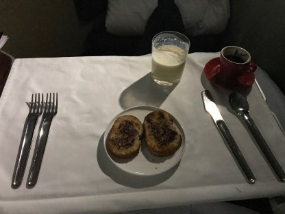 Qantas A380 first class Vegemite on toast