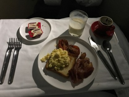 Qantas A380 first class full breakfast with scrambled eggs