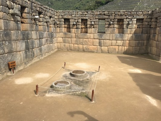 Reflecting pools for the sun and moon at Machu Picchu