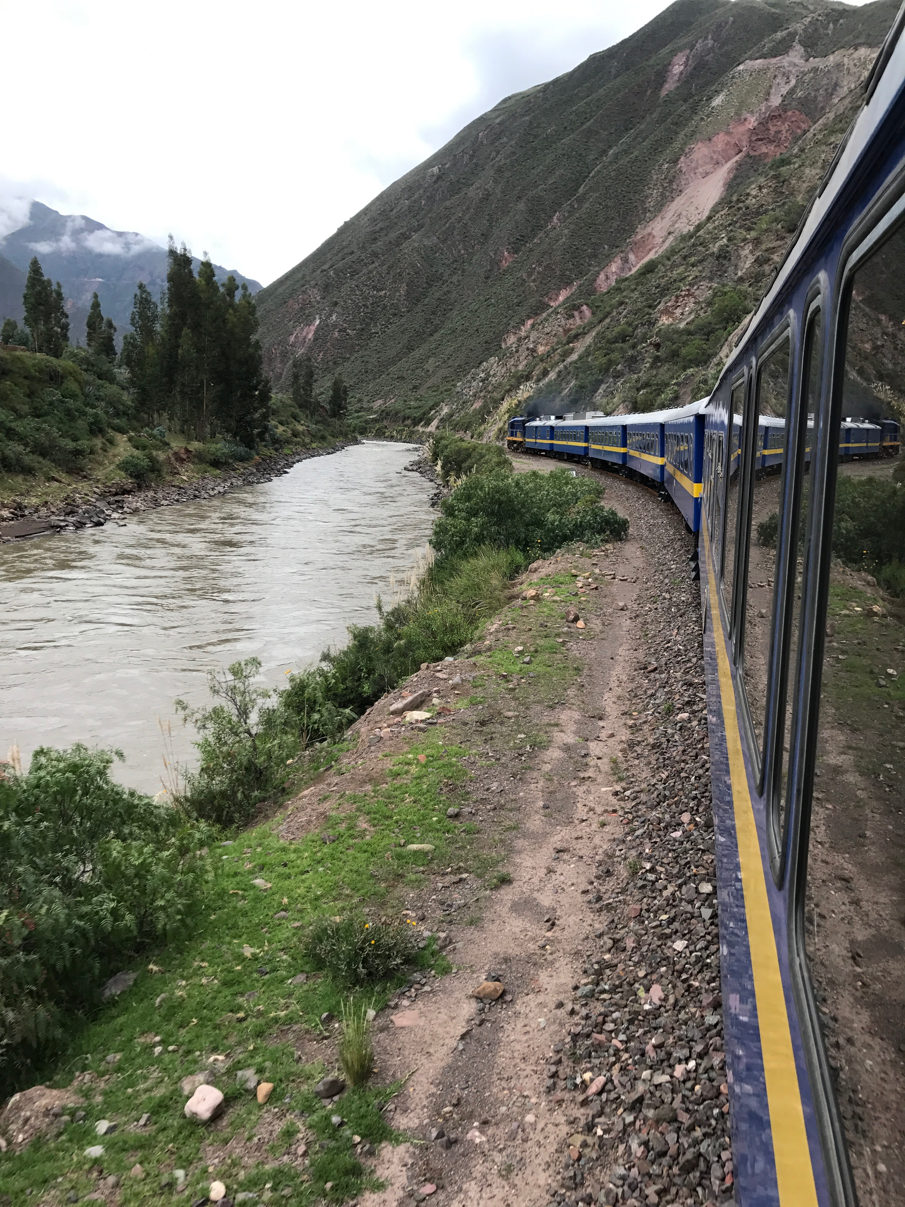 Andean Explorer train next to the Urubamba River