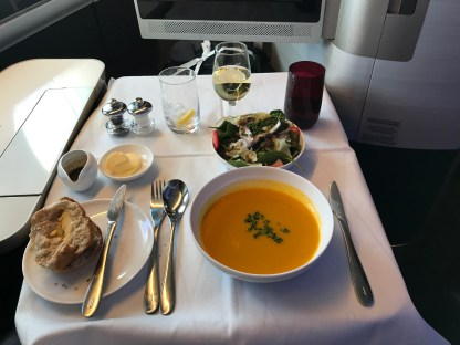 British Airways first class soup